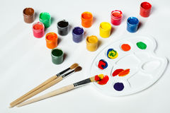 Gouache paints and watercolors Stock Photography