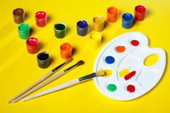 Gouache paints and watercolors Royalty Free Stock Photos