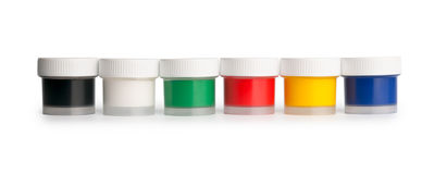 Gouache palette jars in a row Royalty Free Stock Images