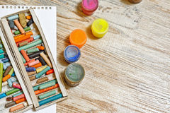 Gouache and pastel crayons close-up. Royalty Free Stock Photography