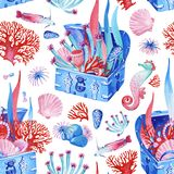 Gouache seamless undersea old chest with treasure. Hand-drawn clipart for art work and weddind design. Gouache pink-red-blue seamless pattern consist of old royalty free illustration