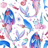 Gouache seamless wonderful ocean pattern with water nymph. Hand-drawn clipart for art work and weddind design. Gouache pink-red-blue seamless pattern consist of royalty free illustration