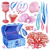 Gouache ocean treasure set. Hand-drawn clipart for art work and weddind design. Gouache pink-red-blue set consist of blue old chest, old red goblet, red coral royalty free illustration