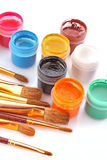 Gouache pots and brushes Royalty Free Stock Photo