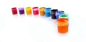 Gouache pots isolated Stock Photo