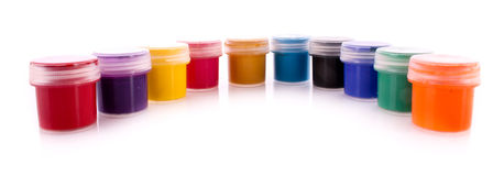 Gouache pots isolated Royalty Free Stock Images