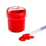 Gouache red with brush Royalty Free Stock Photo