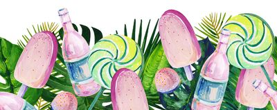 Gouache summer seamless border with mixed tropical leaves and candy royalty free illustration