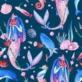 Gouache seamless fantasy underwater pattern with water nymph on dark background. Gouache seamless fantasy underwater pattern with water nymph for art work and vector illustration