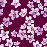 Gouache seamless floral pattern with lilac orchids on a purple background. For art work and wedding design vector illustration