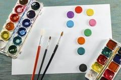 Gouache tofsar, vattenfärgmålarfärg, vitt ark av papper all fo arkivbild