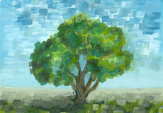 Gouache tree in summer day. Royalty Free Stock Photography