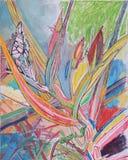 Gouache und farbige Bleistiftzeichnung von Blättern und von Knospen im Gras Stockbild