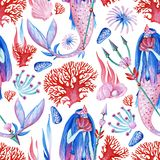 Gouache seamless wonderful undersea pattern with water nymph, coral and ocean inhabitants for art work stock illustration