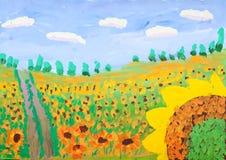 Gouachebild des Kindes des Sonnenblumenfelds Stockfotografie