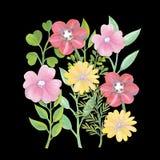 Gouachen målade ljus sommarbakgrund för blommor och för sidor Royaltyfri Foto