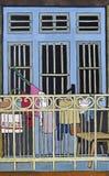 Gouachezeichnung des Fensters und des Balkons Lizenzfreie Stockfotos