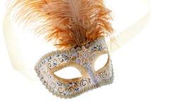 Goud bevederd Carnaval masker stock foto's