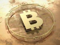 Goud bitcoin of digitale munt Stock Foto