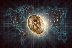 Goud bitcoin en de digitale achtergrond van de wereldkaart Royalty-vrije Stock Foto