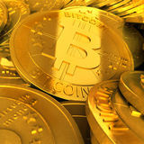 Goud bitcoins Royalty-vrije Stock Foto