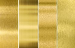 Goud of de messing geborstelde achtergronden van de metaaltextuur Stock Foto
