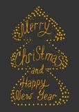 Goud die Vrolijke Kerstmis en Gelukkig Nieuwjaar in abstract RT van letters voorzien Royalty-vrije Stock Foto's