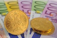 Goud en euro Stock Afbeelding