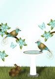 Goud en Teal Birds Stock Fotografie