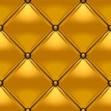 Goud knoop-doorgenaaide ruitvormige leerachtergrond Stock Afbeelding