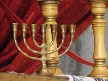 Goud menorah 3 van het brons Royalty-vrije Stock Foto