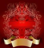 Goud op de Rode Achtergrond van de Kaart van de Dag van de Valentijnskaart Royalty-vrije Stock Afbeeldingen