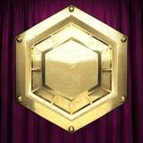 Goud op de rode achtergrond van het fluweelgordijn Royalty-vrije Stock Afbeeldingen