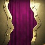 Goud op de rode achtergrond van het fluweelgordijn Royalty-vrije Stock Foto's