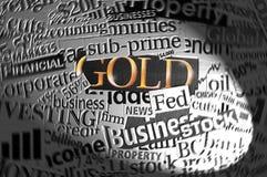 Goud in schijnwerper. Stock Fotografie