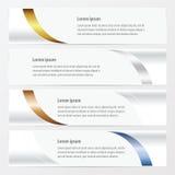 Goud van de ontwerp het vectorbanner, brons, zilveren, blauwe kleur Stock Foto's