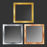 Goud, Zilver, Brons, de Kadersvector van het Kopermetaal vierkant Realistische Metaalplatenillustratie royalty-vrije illustratie