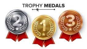 Goud, Zilver, Bronsmedailles Geplaatst Vector Metaal Realistisch Kenteken met eerst, Tweede, Derde Plaatsingsvoltooiing ronde vector illustratie