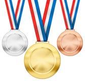Goud, zilver, bronsmedailles met tricolorlinten stock afbeeldingen