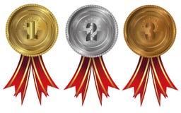 Goud, zilver en brons - medailles 1 2 3 Stock Foto's