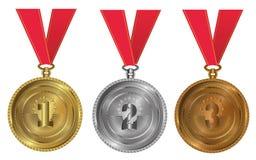 Goud, zilver en brons - medailles 1 2 3 Stock Afbeelding