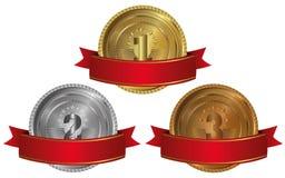 Goud, zilver en brons - medailles 1 2 3 Royalty-vrije Stock Fotografie