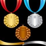 Goud, zilver en bronsmedailles vector illustratie