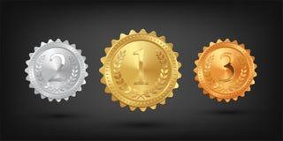 Goud, zilver en bronsmedailles op zwarte achtergrond worden geïsoleerd die Vector ontwerpelementen royalty-vrije illustratie