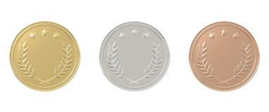 Goud, zilver, geplaatste bronsmedailles Stock Afbeelding