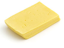 Gouda cheese. Sliced gouda cheese isolated on the white background Royalty Free Stock Photo