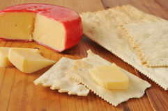Gouda cheese on flatbread crackers Stock Image