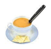 Gouda cheese soup in cup with spoon Stock Photos