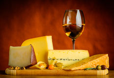 Gouda Cheese and White Wine Royalty Free Stock Photo