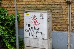 Gouda/The Netherlands - May 19 2018: Electricity box on a street stock photo